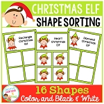 Shape Sorting Mats: Christmas Elf ~Digital Download~